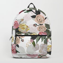 Hand Drawn Peony and Roses White Background Backpack