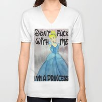 princess V-neck T-shirts featuring princess by haysor