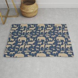 African Fauna // Khaki & Navy Rug