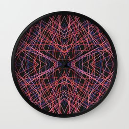Fuath - Abstract Symmetric Thin Red Lines on Black Wall Clock