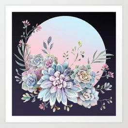 Succulent full moon Art Print