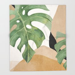 Abstract Art Tropical Leaves 3 Throw Blanket