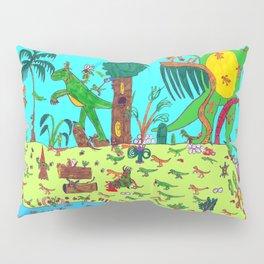 Dinosaur battle scene Pillow Sham