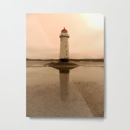 Talacre Lighthouse Sepia Isolation Metal Print