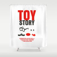 toy story Shower Curtains featuring Toy Story Movie Poster by FunnyFaceArt