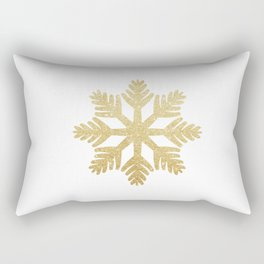 Gold Glitter Snowflake Rectangular Pillow