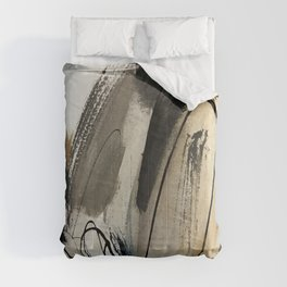 Drift [5]: a neutral abstract mixed media piece in black, white, gray, brown Comforters