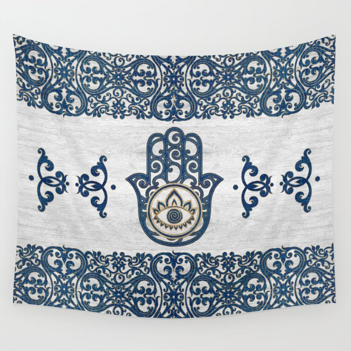 Hamsa Hand Hand Of Fatima Blue Wood Wall Tapestry By