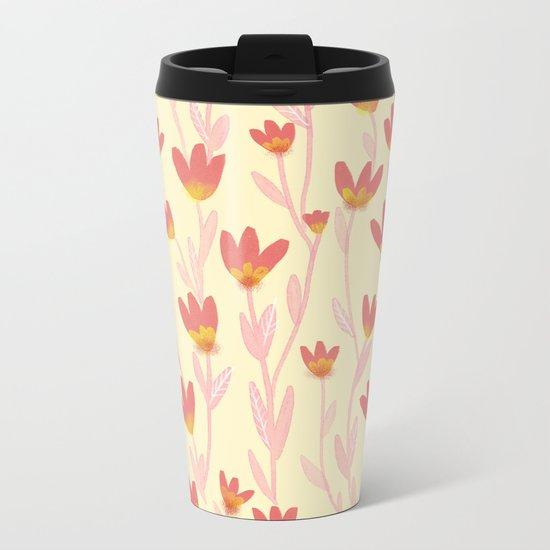 Red Tulips Pattern Metal Travel Mug