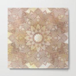 DESERT QUEEN - Bronze Mandala on Gold Metal Print