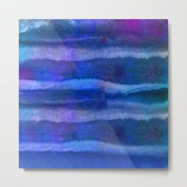 Blue Abstract Watercolor Striped Painting Metal Print