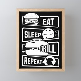 Eat Sleep Grill Repeat - BBQ Barbecue Griller Framed Mini Art Print
