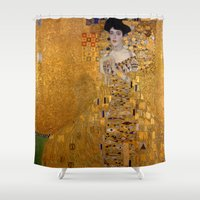 gustav klimt Shower Curtains featuring Adele Bloch-Bauer I by Gustav Klimt by Palazzo Art Gallery