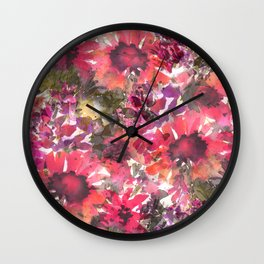 Ruby Red Sunflowers Wall Clock