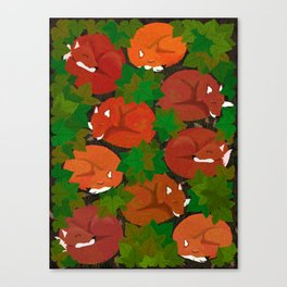 Sleepy foxes and Grapevine leaves Canvas Print