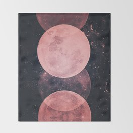 Pink Moon Phases Throw Blanket