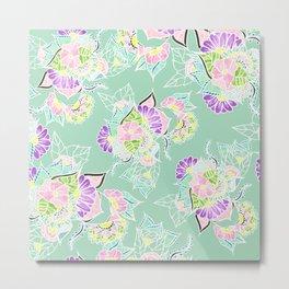 Modern bright spring pastel floral watercolor illustration Metal Print