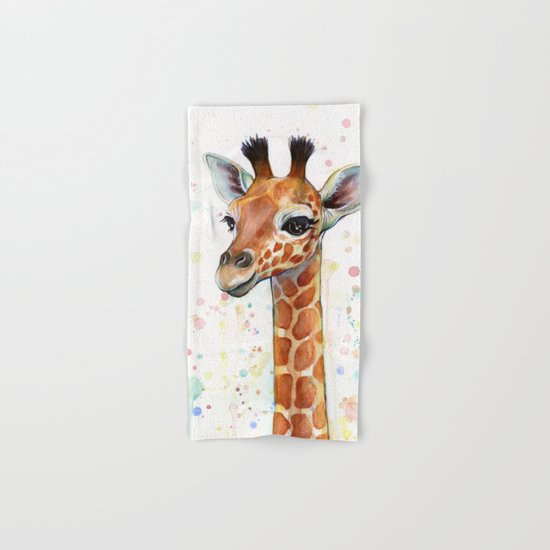 Giraffe Baby Animal Watercolor Whimsical Nursery Animals Hand & Bath Towel