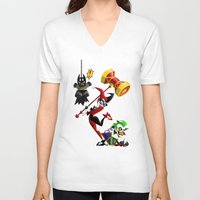 harley V-neck T-shirts featuring Harley Quinn by Eileen Marie Art