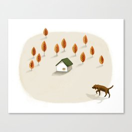 The little house surrounded by trees Canvas Print