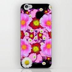 Black Design & Pink Roses Shasta Daisies Art Abstract iPhone & iPod Skin