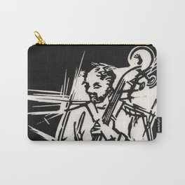 Bossa Pizzicato Jazz Bassist Black and White Block Print Carry-All Pouch