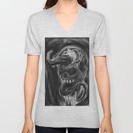 Charcoal Skull Of Death Unisex V-Neck