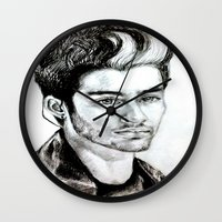 zayn malik Wall Clocks featuring Zayn Malik drawing by Clairenisbet