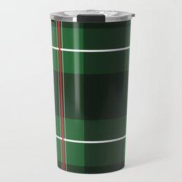 Green, Black and Red Striped Plaid Travel Mug