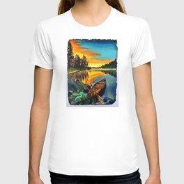 'Water Like Glass' Hand-Drawn Original Canoe Pastels Art - T-shirt