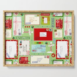 Kids Letters to Santa l Christmas Pattern - Mint Green Serving Tray