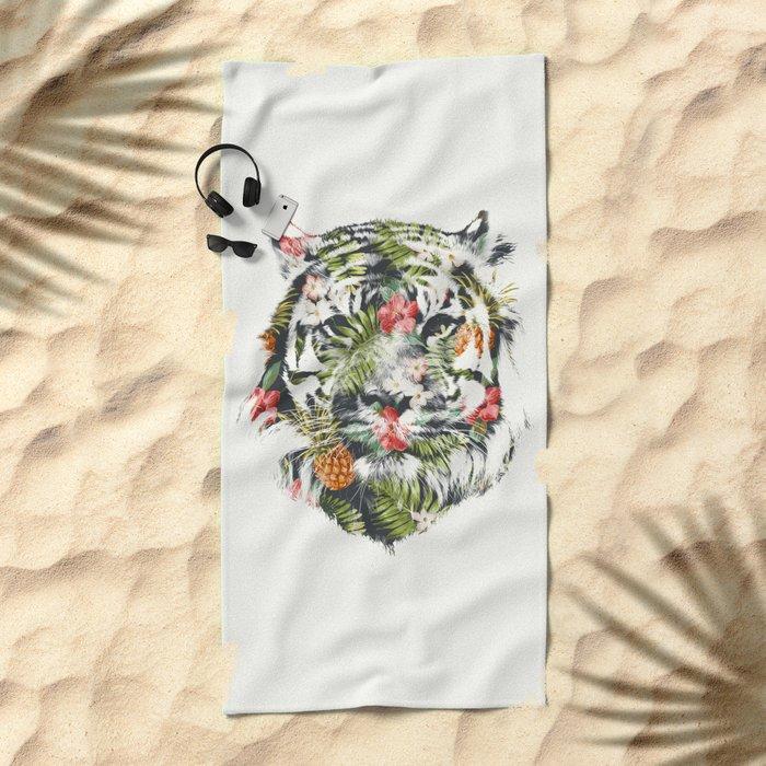 Tropical tiger Beach Towel