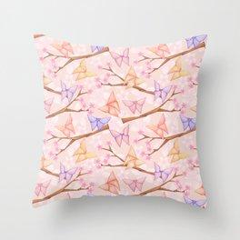 Cherry Blossoms & Butteflies Origami Throw Pillow