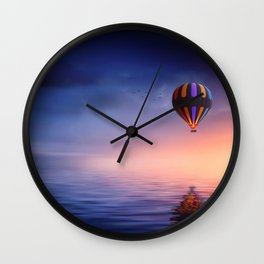 Baloon at sunset on the ocean Wall Clock