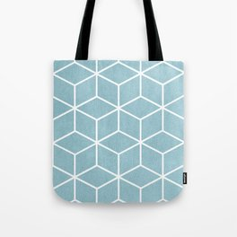 Light Blue and White - Geometric Textured Cube Design Tote Bag