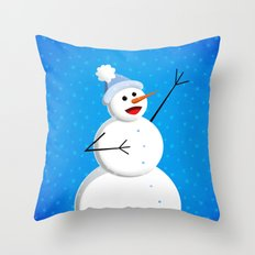 Blue Happy Singing Snowman Throw Pillow