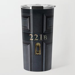 Haunted black door with 221b number Travel Mug