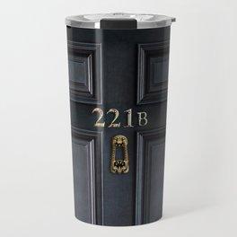 Haunted black door with 221b number Travel Mug