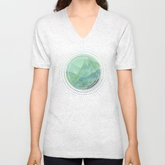 Lines in the mountains - green Unisex V-Neck