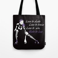 roller derby Tote Bags featuring Roller Derby Love Poem by LucyDynamite