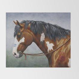 Bay Pinto Native American War Horse Throw Blanket