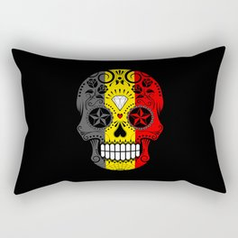 Sugar Skull with Roses and Flag of Belgium Rectangular Pillow