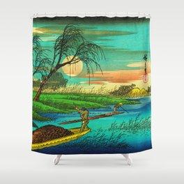 Seba Ohta River Japan Ukiyo e Art Shower Curtain
