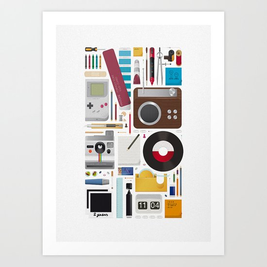 Stuff (white background) Art Print