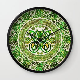 Celtic Butterfly - Round Ornament - Green and gold Wall Clock