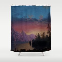 Sunset in California landscape painting by Gilbert Munger Shower Curtain