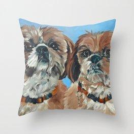 Shih Tzu Buddies Dog Portrait Throw Pillow