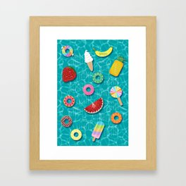 Sweet Treats Pool Floats Pattern – Turquoise Framed Art Print