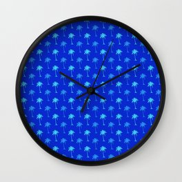 Tropical Blue Palm Trees Wall Clock