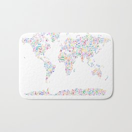 Music Notes Map of the World Bath Mat